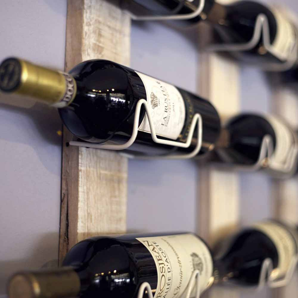 wine stored on wall rack
