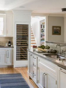 Built-in wine refrigerator fits seamlessly in kitchen
